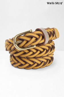 White Stuff Yellow Plait Skinny Nubuck Belt
