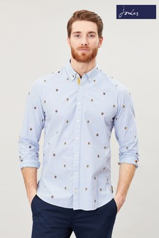 Joules Blue Ballintoy Long Sleeve Classic Fit Printed Shirt