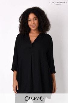 Live Unlimited Curve Black Viscose Mix Longline Shirt