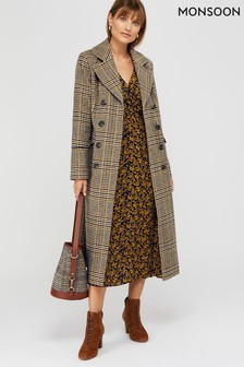 Monsoon Yellow Anika Check Maxi Coat