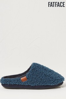 FatFace Teal Clive Faux Fur Mule Slippers