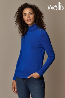 Wallis Blue Stud Zip Roll Neck Jumper