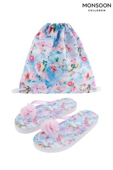 Monsoon Blue Unicorn Floral Flip Flop And Bag Set