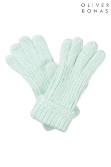 Oliver Bonas Green Fluffly Mint Knitted Gloves