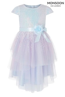 Monsoon Children Blue Elsie Sparkle Dress