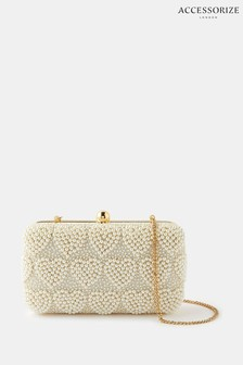 Accessorize Pearly Heart Hardcase Clutch Bag