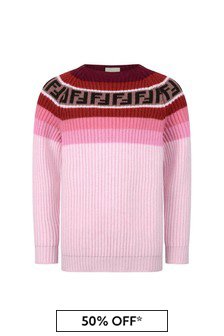 Girls Pink Wool & Cashmere Sweater