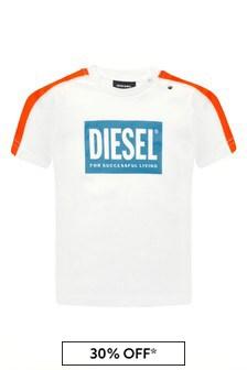 Diesel Baby Boys White Cotton T-Shirt