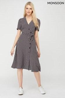 Monsoon Black Monica Print Sustainable Viscose Dress