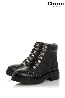 Dune London Panthers Stud Black Leather Stud Interest Hiker Boots