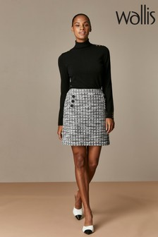 Wallis Black Textured Button Skirt