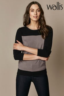 Wallis Natural Button Shoulder Colourblock Jumper