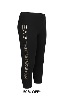EA7 Emporio Armani Girls Black Cotton Leggings