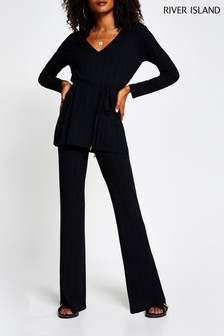 River Island Black Ribbed Split Side Flare Trousers