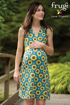 Frugi GOTS Organic Maternity And Breastfeeding Dress In Sunflower Print