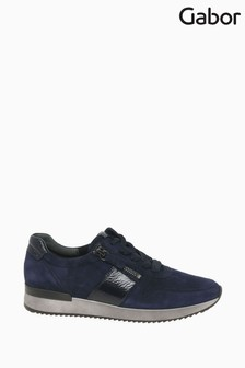 Gabor Lulea Bluette Suede/Patent Sports Casual Trainers