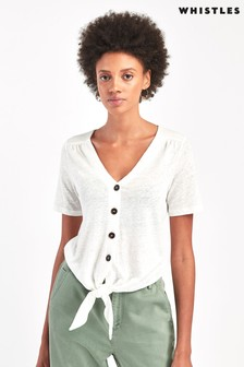 Whistles White Linen Button Front Tie Top