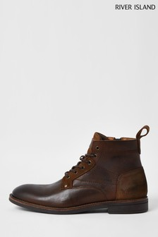 River Island Brown Dark Casual Lace-Up Boots