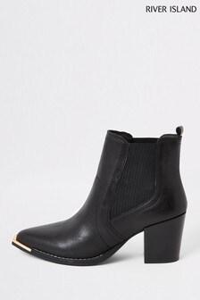 River Island Black Tabitha Black Chelsea Western Boots