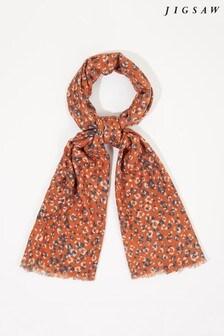 Jigsaw Brown Leopard Print Wool Scarf