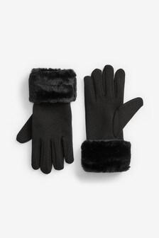 Jersey Faux Fur Cuff Gloves