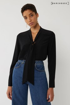 Warehouse Black Tie Neck Blouse