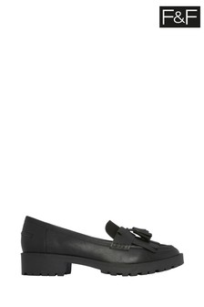 F&F Black Chunky Tassel Loafers
