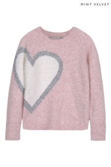 Mintie by Mint Velvet Pink Heart Intarsia Jumper