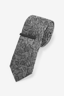 Snake Pattern Tie And Tie Clip Set