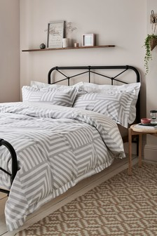 Hotel Geo Reversible 100% Cotton Duvet Cover and Pillowcase Set