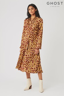 Ghost London Brown Ayla Carylyn Flower Print Satin Dress