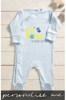 Personalised Hello World Sleepsuit
