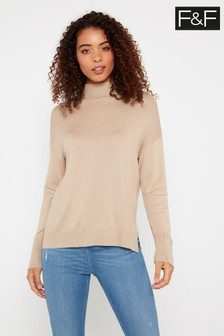 F&F Camel Turtle Button Jumper