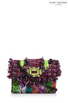 Kurt Geiger London Purple Tweed Mini Mayfair Fabric Bag