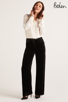 Boden Black Selwood Velvet Trousers