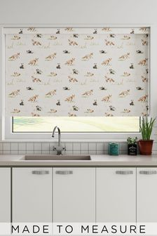 Wildlife Fox And Badger Orange Made To Measure Roller Blind