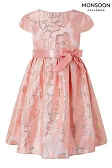 Monsoon Pink Chelsea Floral Jacquard Pink Dress