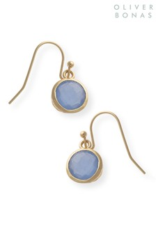 Oliver Bonas Blue Kosi Round Facet Brass Earrings