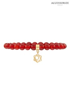 Accessorize Orange Beaded Sacral Chakra Bracelet
