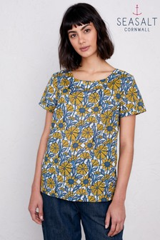 Seasalt Petite Yellow Sketched Motif Top