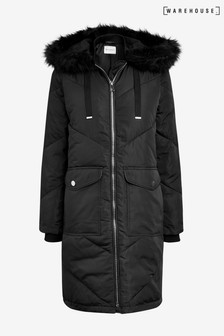 Warehouse Black Chevron Padded Coat