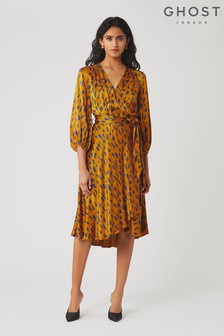 Ghost London Brown Aggie Abstract Giraffe Print Satin Dress