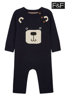 F&F Grey Bear Knitted All-In-One
