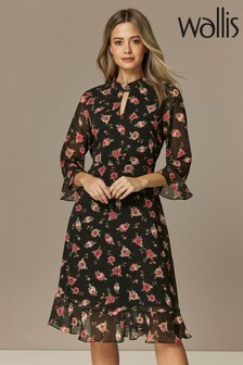 Wallis Petite Rose Print High Neck Midi Dress