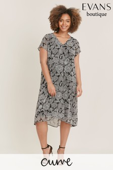 Evans Curve Black Paisley Split Front Dress