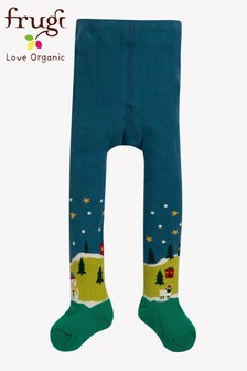 Frugi Navy Christmas Tights