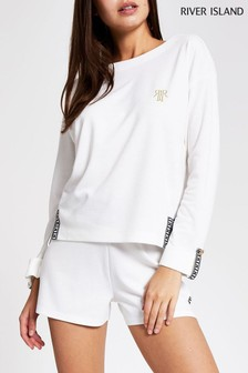 River Island White Tape Notch Front Top