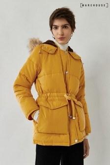 Warehouse Yellow Short Drawstring Padded Coat
