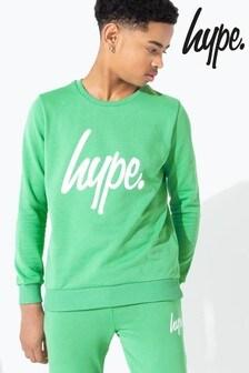 Hype. Green Hype Script Kids Crew Neck Sweater