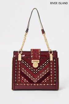 River Island Oxblood Studded Tote Bag